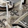 Black Fleur De Lis Stripe Jacquard Table Runner - Design Imports - image 3 of 4