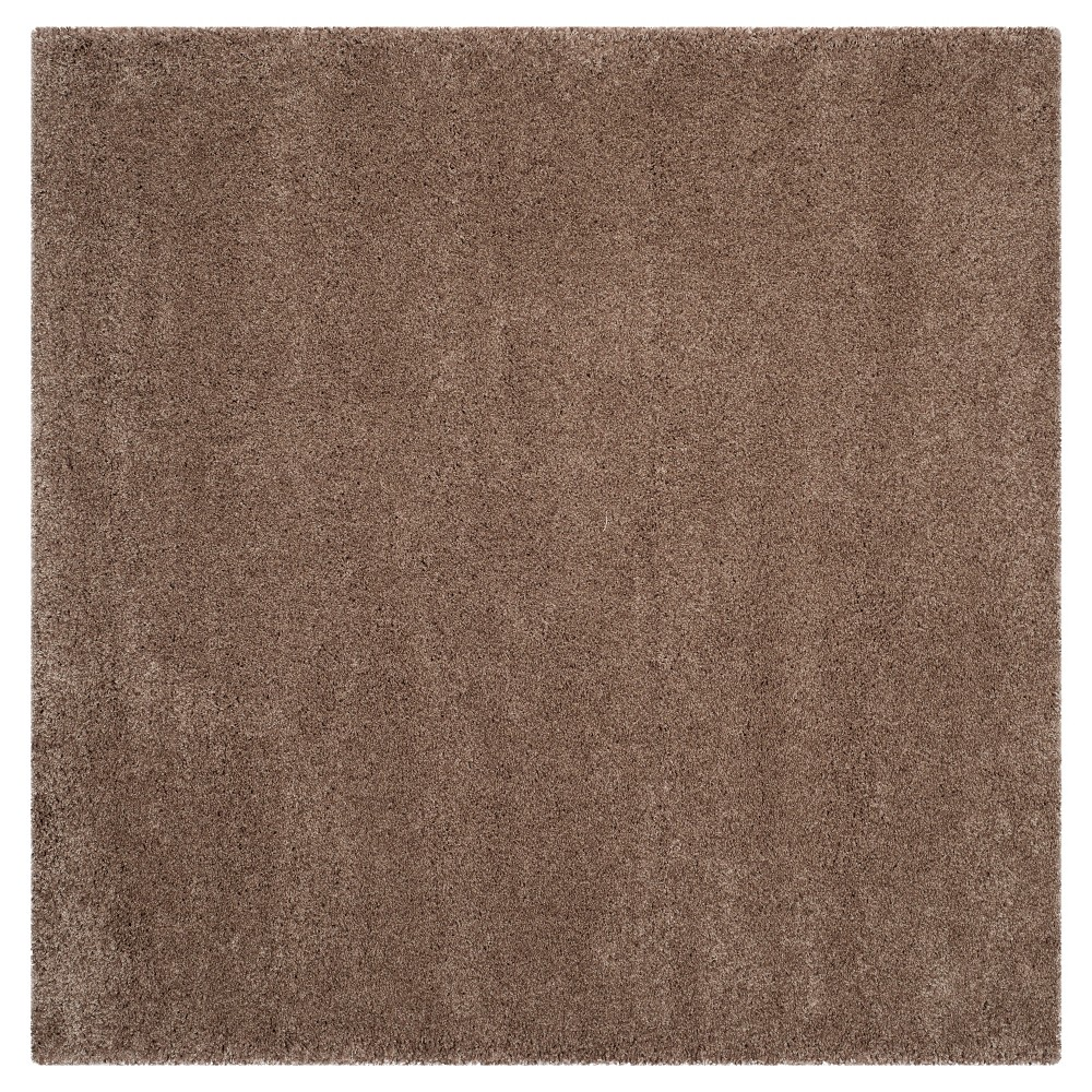 Taupe (Brown) Solid Loomed Square Area Rug - (6'7