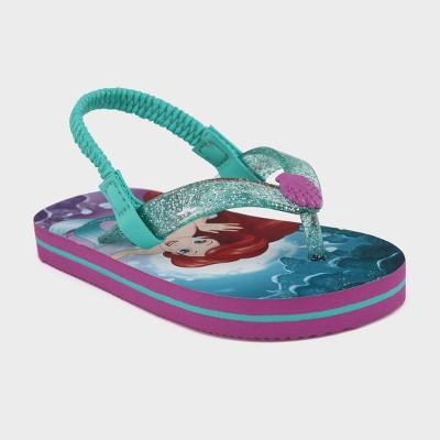 Toddler Girls' Disney Ariel Flip Flop Sandals - Turquoise M