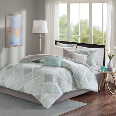 Aqua Sidnee Cotton Sateen Comforter Set (Queen)9pc