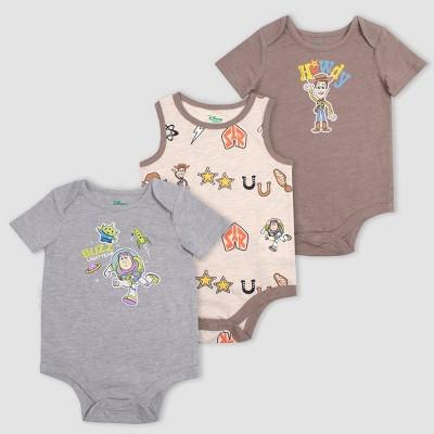 Baby Boys' 3pk Toy Story Bodysuits - Brown 6-9M
