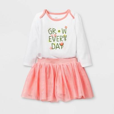 Baby Girls' Long Sleeve Grow Everyday Tutu Set - Cat & Jack™ Coral Newborn