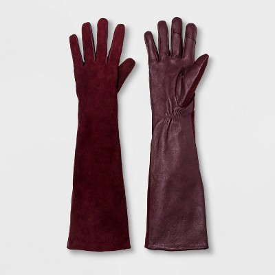 Women's Fashion Mixed Long Leather Tech Touch Gloves   A New Day™ by A New Day