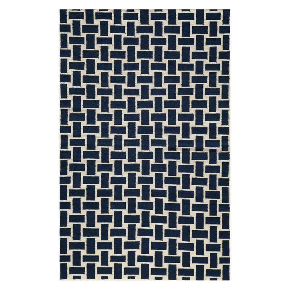 8'X10' Geometric Woven Area Rug Navy (Blue) - Momeni