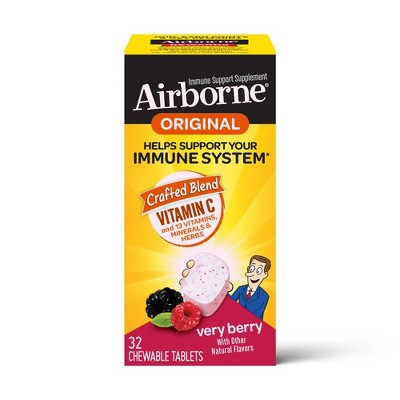 Airborne Immune Support Chewable Tablets with Vitamin C & Zinc - Berry - 32ct