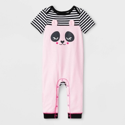 Baby Girls' Short Sleeve Critter Panda Face Romper - Cat & Jack™ Pink 6-9M