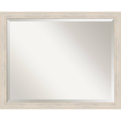 "31"" x 25"" Hardwood Narrow Framed Bathroom Vanity Wall Mirror Whitewash - Amanti Art"