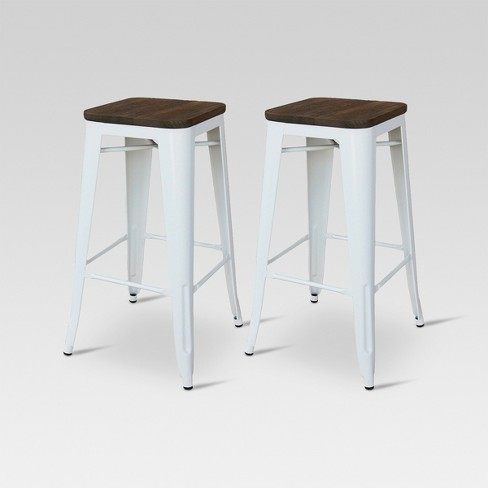 "Hampden Industrial 29"" Barstool White Set of 2 - Threshold™ - image 1 of 4"