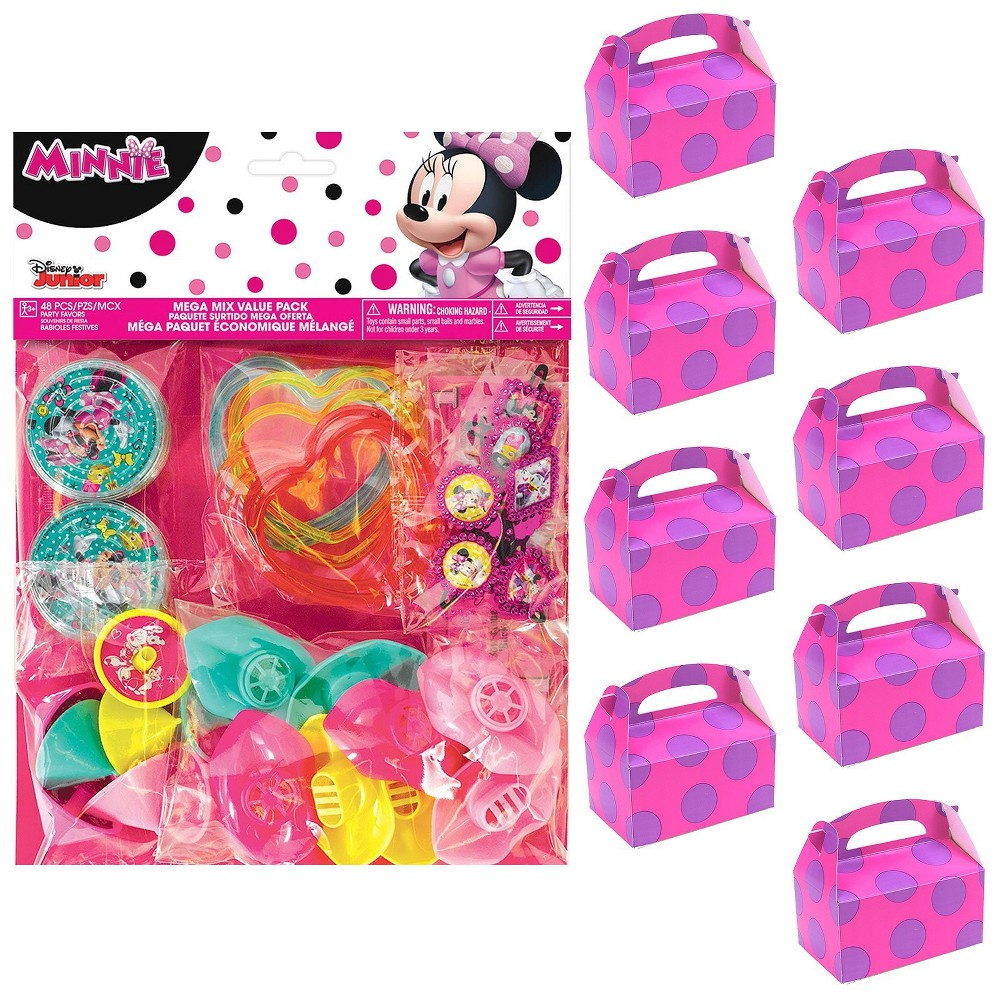 8ct Minnie Mouse Helpers Filled Favor Box Kit, Multi-Colored