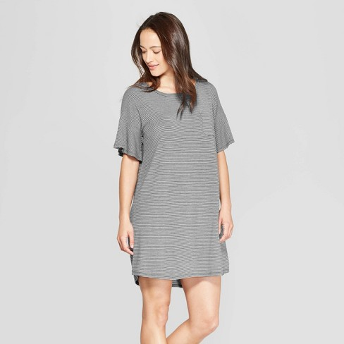 Women's Striped Beautifully Soft Short Sleeve Nightgown - Stars Above™ Gray - image 1 of 2