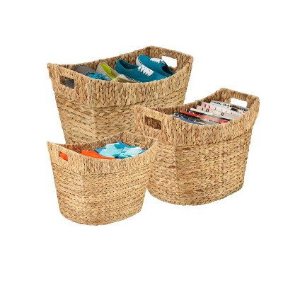 Honey-Can-Do 3pc Set Tall Natural Baskets