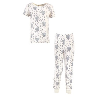 Touched by Nature Baby, Toddler and Kids Girl Organic Cotton Tight-Fit Pajama Set, Pink Elephant