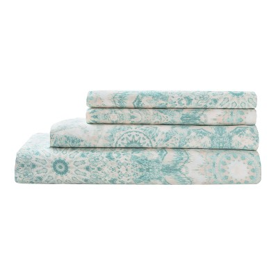 300tc Radial Cotton Print Sheet Set - Aqua - King
