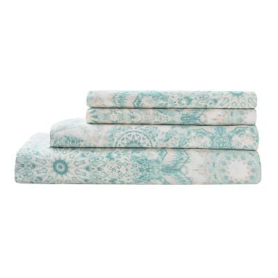 300tc Radial Cotton Print Sheet Set - Aqua - Queen