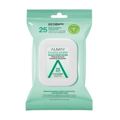 Almay Biodegradable Clear Complexion Makeup Remover Cleansing Towelettes - 25ct