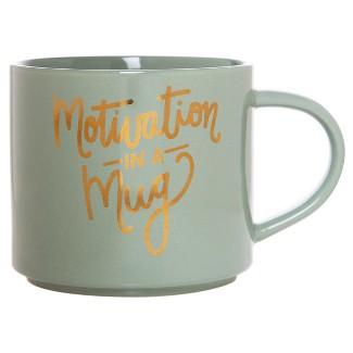 15oz Porcelain Motivation In A Mug Stackable Mug Green/Gold - Threshold™