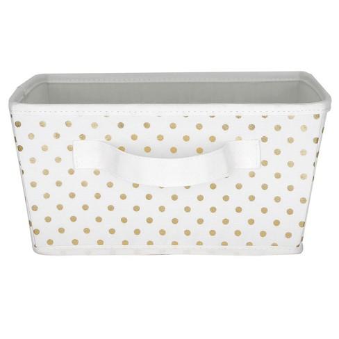 Small Polka Dot Toy Storage Bin White/Gold - Pillowfort™ - image 1 of 2
