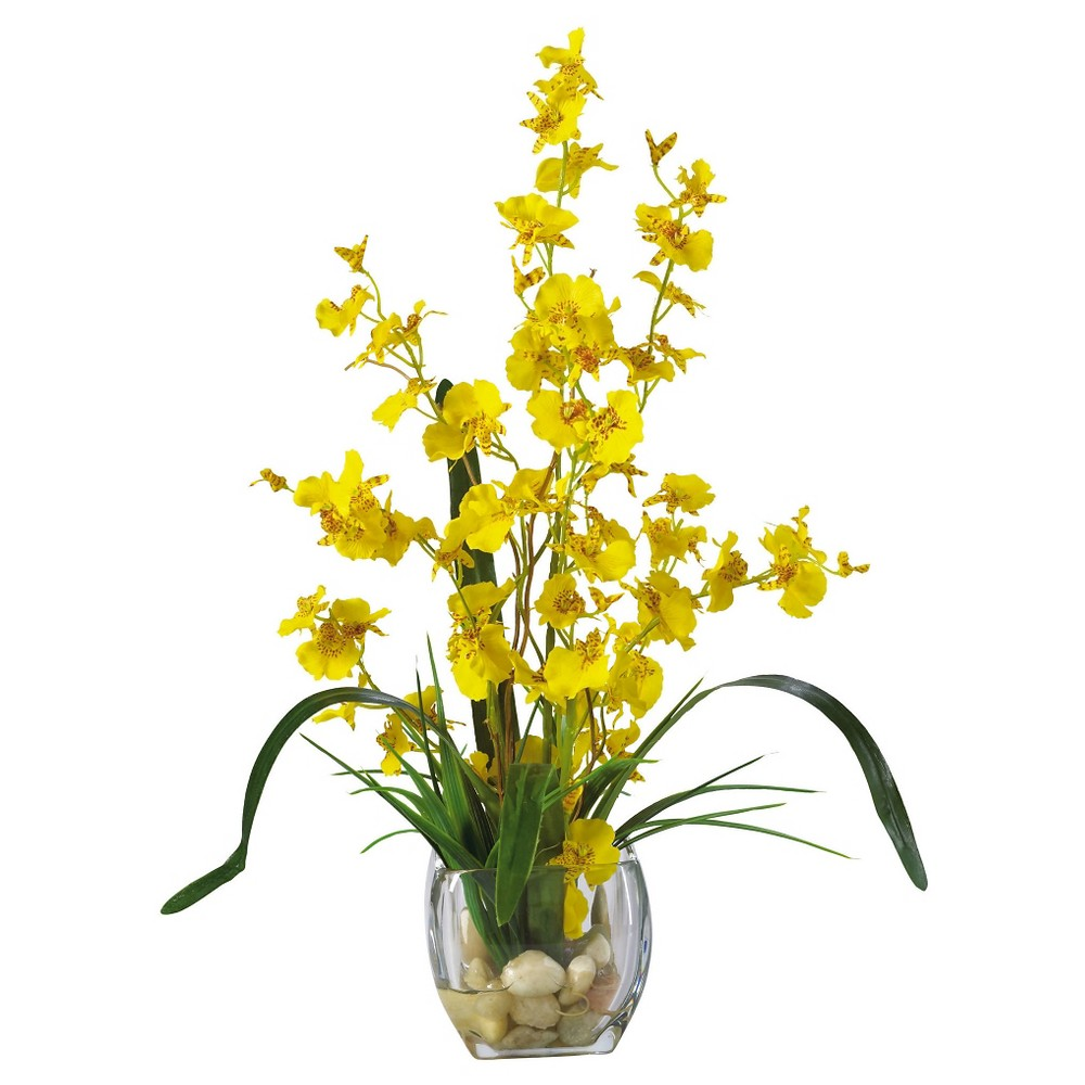 Nearly Natural Dancing Lady Orchid Liquid Illusion Silk Flower Arrangement Yellow Brighten the mood and create an inviting atmosphere around the house with the Nearly Natural Dancing Lady Orchid Liquid Illusion Silk Flower Arrangement Yellow. With long rich green leaves fanning out in intricate geometric patterns with vibrant yellow orchids, it's no wonder that this faux arrangement brings a bit of tropic decor to any living arrangement. It is made of silk to give natural look and comes with glass pot and illusion water with pebbles.