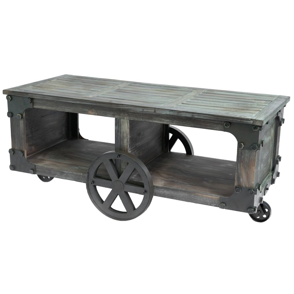 Large Coffee Table with Shelf and Wheels Antique Wood - Vintiquewise