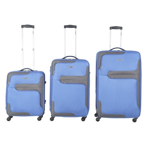 InUSA 3D City 3pc Softside Spinner Luggage Set 20 24 28