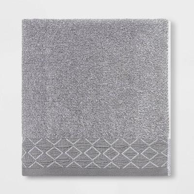 Diamond Band Terry Bath Towel Gray - Threshold™