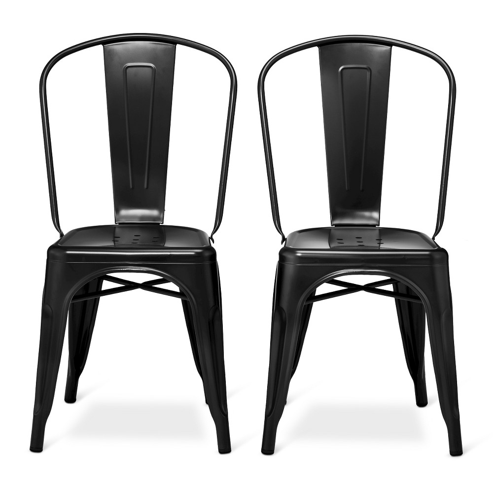 Image of Carlisle High Back Metal Dining Chair Set of 2 - Black - Ace Bayou, Size: 2 Pack - Ships Flat