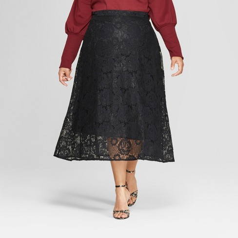 808ac3b7876 Women s Plus Size Full Lace Maxi Skirt - Who What Wear™ Black 16W ...