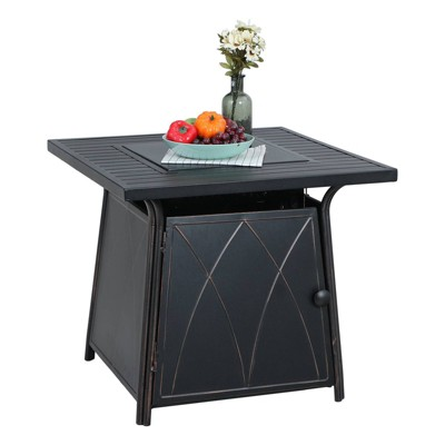 """28"""" Outdoor Gas Fire Pit Table with Lid & Glass - Captiva Designs"""