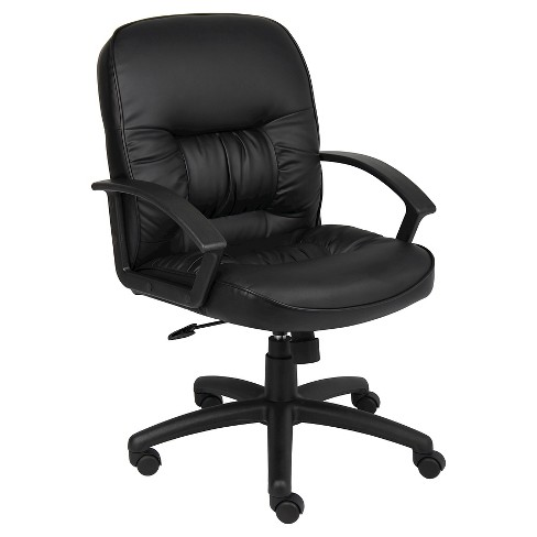 Mid Back Leatherplus Chair Black - Boss Office Products - image 1 of 1