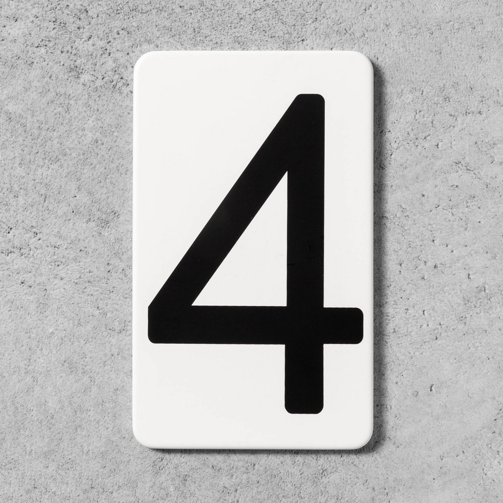 4 House Number Plate - Hearth & Hand with Magnolia, White