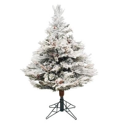 3.5ft Unlit White Flocked Pine Artificial Christmas Tree - Vickerman