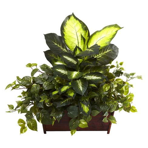 Nearly Natural Golden Dieffenbachia, Philo & Pothos with Wood Planter - image 1 of 1