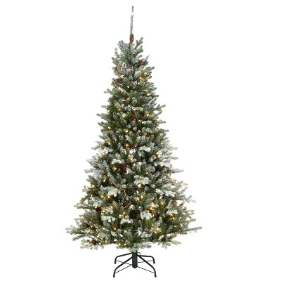 6.5ft National Tree Company Feel Real Snowy Morgan Spruce Hinged Tree with & 400 Clear Lights