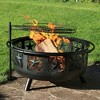 "Black All Star 30"" Fire Pit with Cooking Grate - Round - Sunnydaze Decor - image 3 of 4"