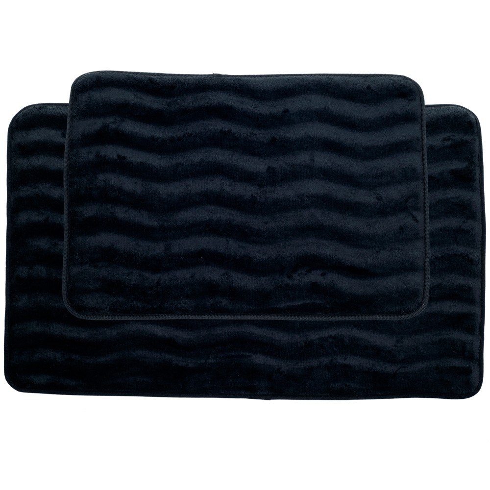 Wave Memory Foam Bath Mat Set 2pc Black - Yorkshire Home - Yorkshire Home