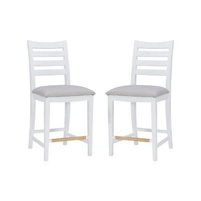 Set of 2 Flynn Counter Height Barstools Upholstered White - Linon