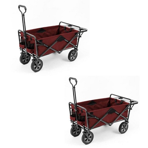 Collapsible Outdoor Utility Wagon with Folding Table and Drink Holders Gray