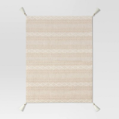 Cotton Printed Placemat with Tassels Beige - Threshold™