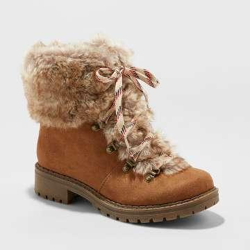 Women's Lilliana Faux Fur Lace Up Boots - Universal Thread? Chestnut 7.5