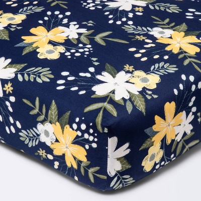 Fitted Crib Sheet Meadow - Cloud Island™ - Navy Floral