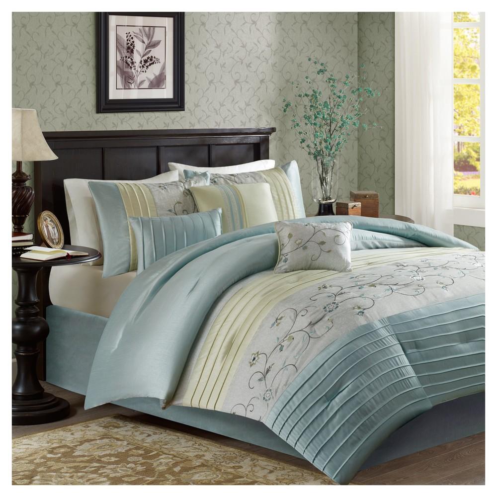Aqua (Blue) Moroe Embroidered Comforter Set (King) 7pc