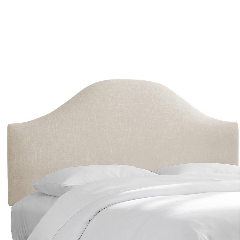 Custom Upholstered Curved Headboard - Linen Talc - Twin - Skyline Furniture