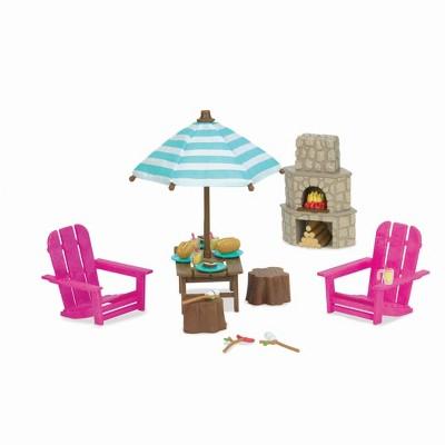 Li'l Woodzeez Miniature Playset with Toy Furniture 23pc - Outdoor Patio Set
