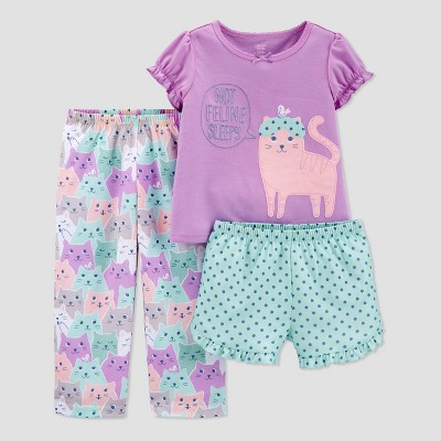 Baby Girls' 3pc Cat Pajama Set - Just One You® made by carter's Pink 12M