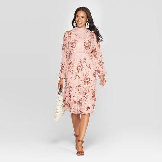 Women's Floral Print Long Sleeve Sheer High Neck Midi Dress - Xhilaration™ Rose L
