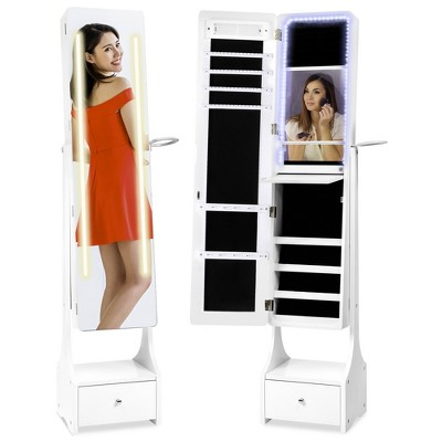 Best Choice Products Full Length LED Mirrored Jewelry Storage Organizer Cabinet w/ Interior & Exterior Lights