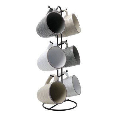 12oz 6pk Stoneware Multi-Diamond Mug Set with Stand Gray - Elama