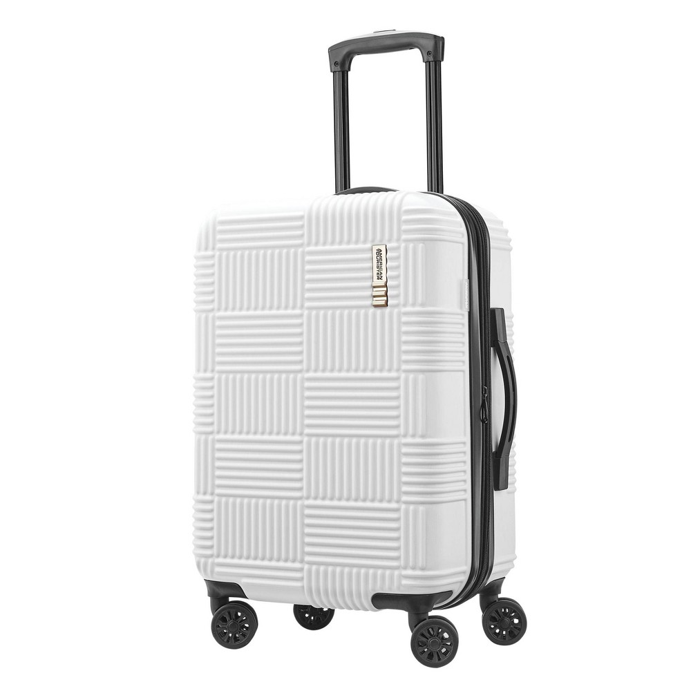 "Image of ""American Tourister 20"""" Checkered Hardside Spinner Suitcase - White"""