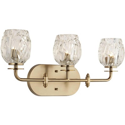 "Possini Euro Design Modern Wall Light Warm Brass Hardwired 22 1/2"" Wide 3-Light Fixture Textured Tulip Glass for Bathroom Vanity"