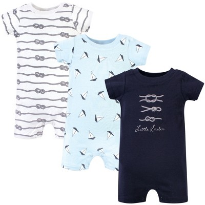 Hudson Baby Infant Boy Cotton Rompers 3pk, Little Sailer